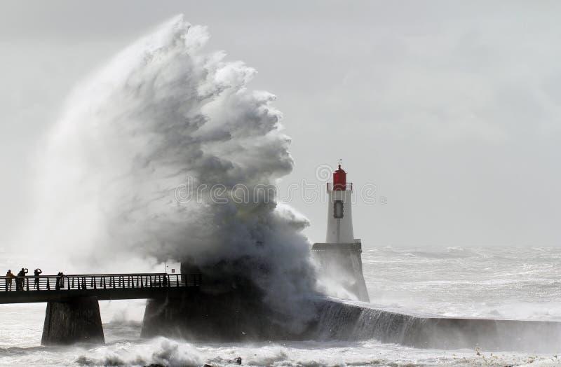 Storm on a lighthouse stock photos