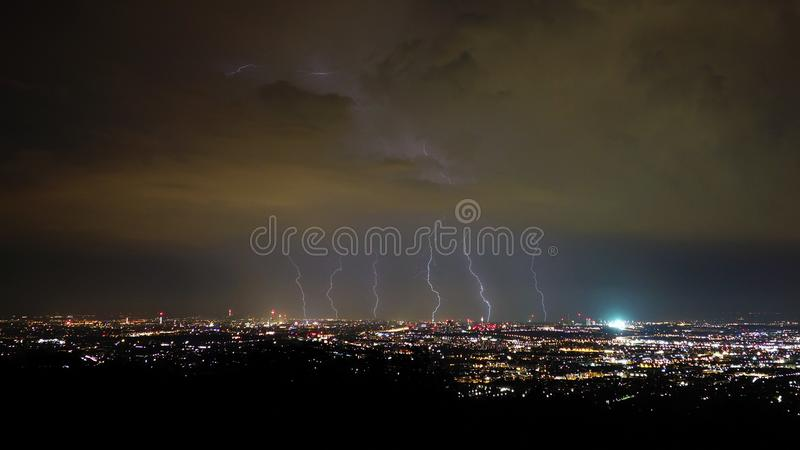 Storm and lightning in the night, Vienna City, Austria stock image