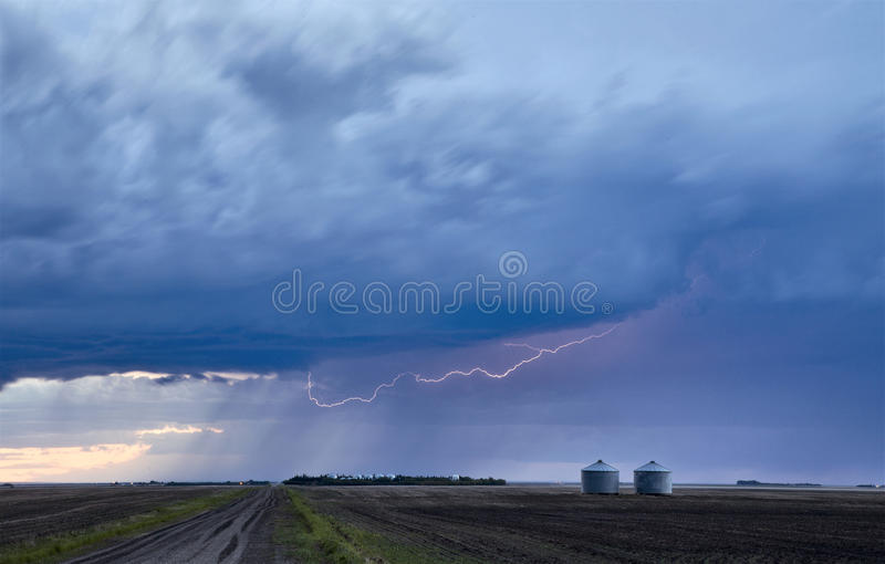 Storm Lightning Rural Canada stock images
