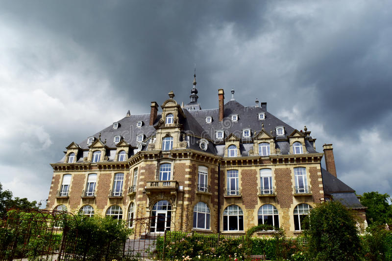 Storm on a mansion stock image