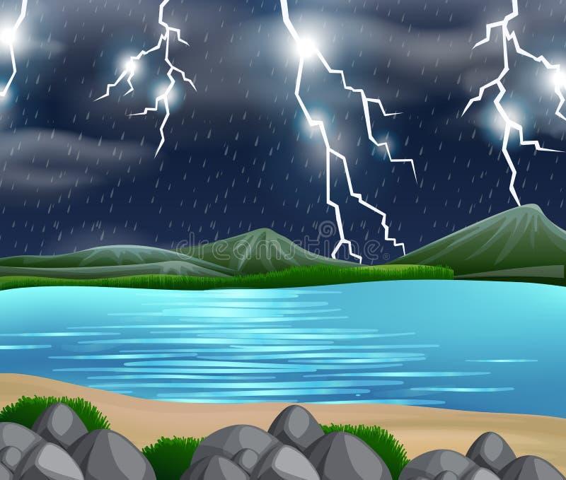 A storm nature scene vector illustration