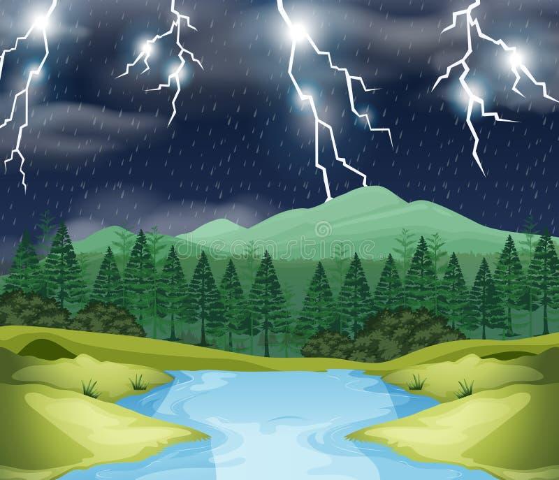Storm night nature scene vector illustration