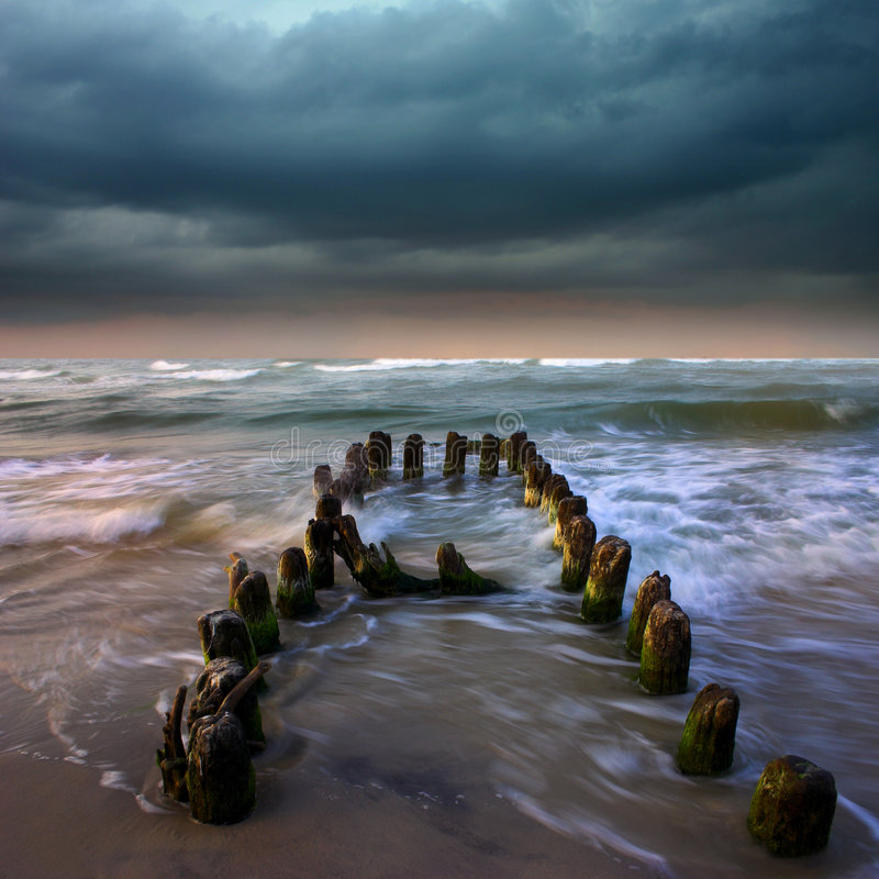 Storm o the sea. Its a storm over sea stock photo