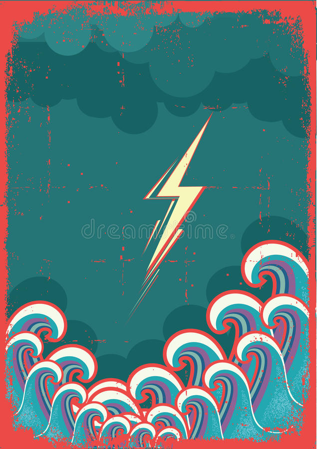 Download Storm In Ocean With Waves And Lightning Stock Vector - Illustration of rain, cloud: 26329397