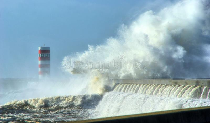 Storm in Oporto lighthouse stock images