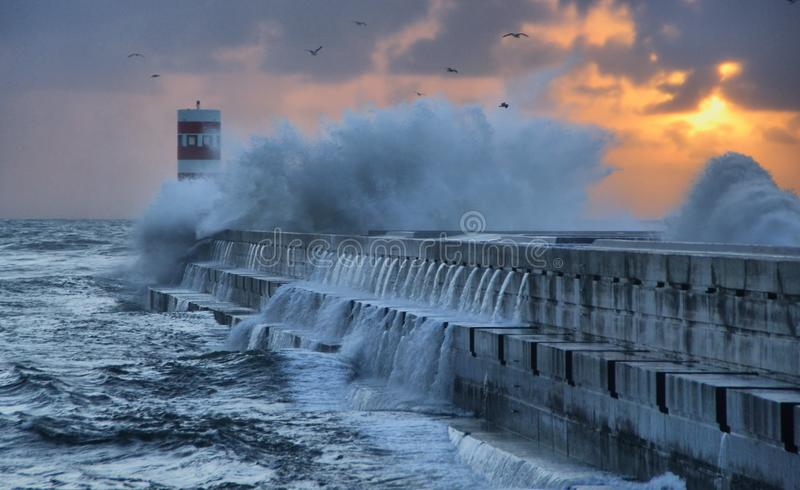 Storm in Oporto lighthouse stock photos