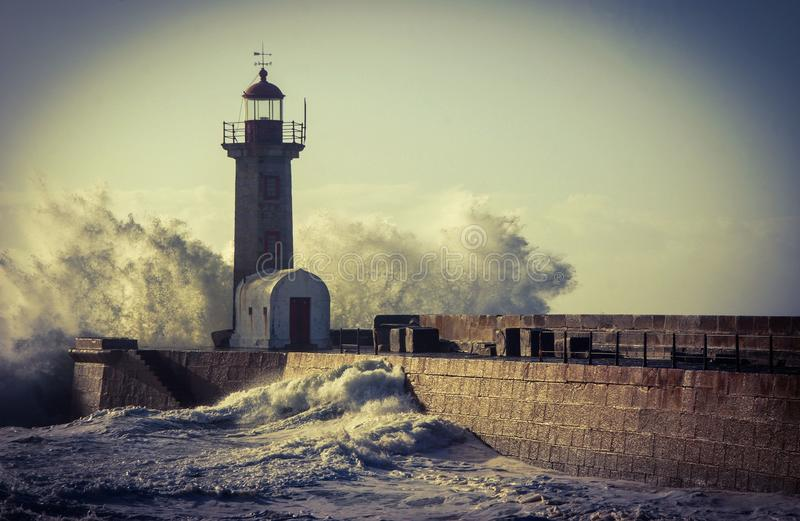 Storm in Oporto lighthouse royalty free stock images