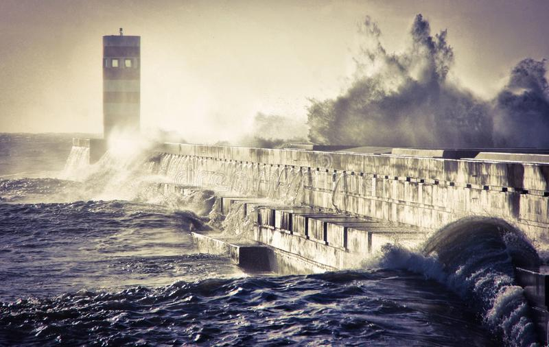 Storm in Oporto lighthouse royalty free stock photos