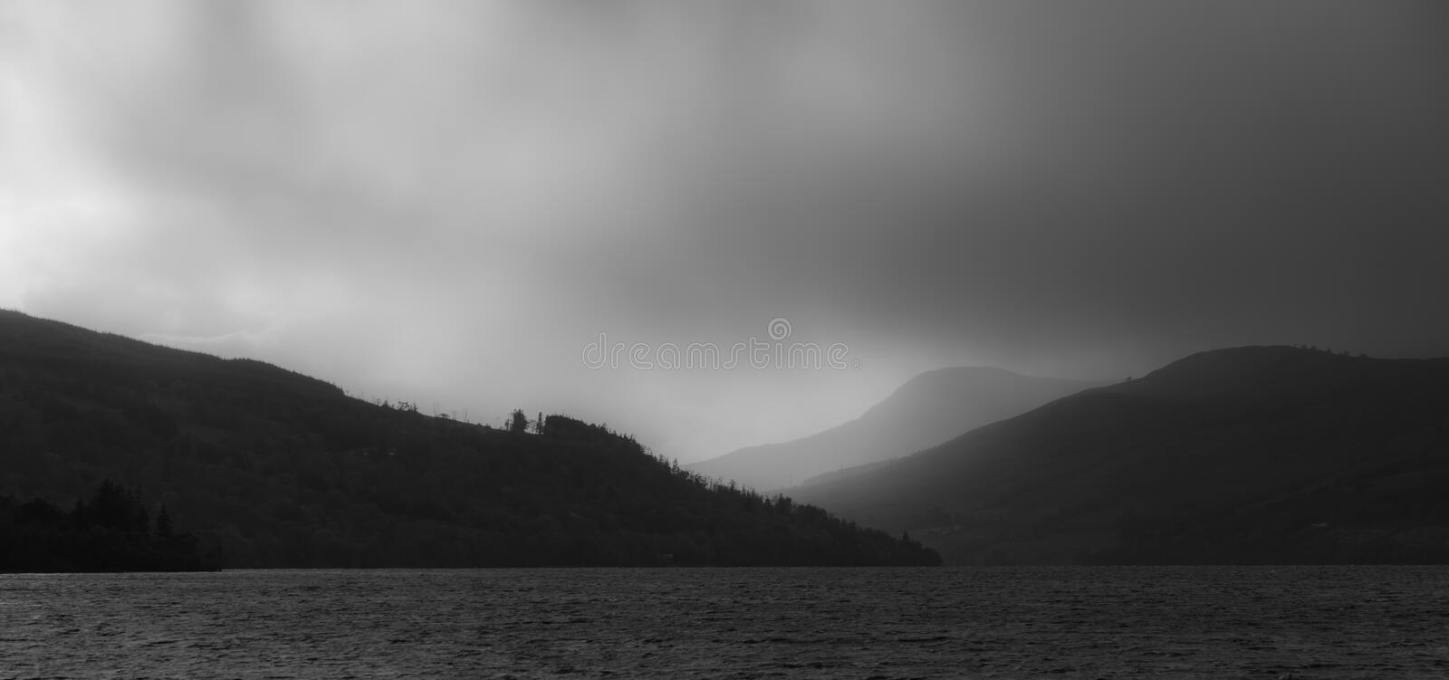 Storm over Ben Lawers - view from the banks of Loch Tay royalty free stock photo