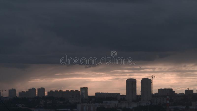 Storm over the city of Ekaterinburg. Cloudy weather in the city.  stock images