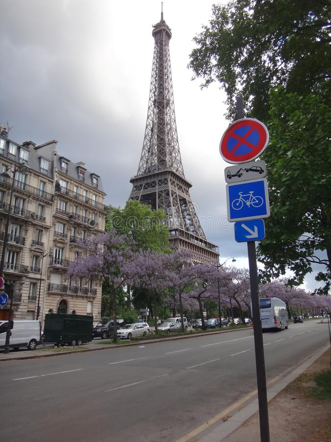 Gloomy Day at the Eiffel Tower royalty free stock image