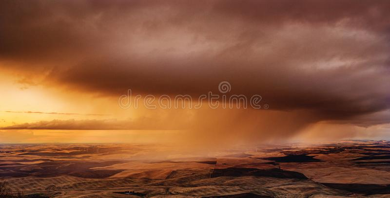 Storm over the fields stock image