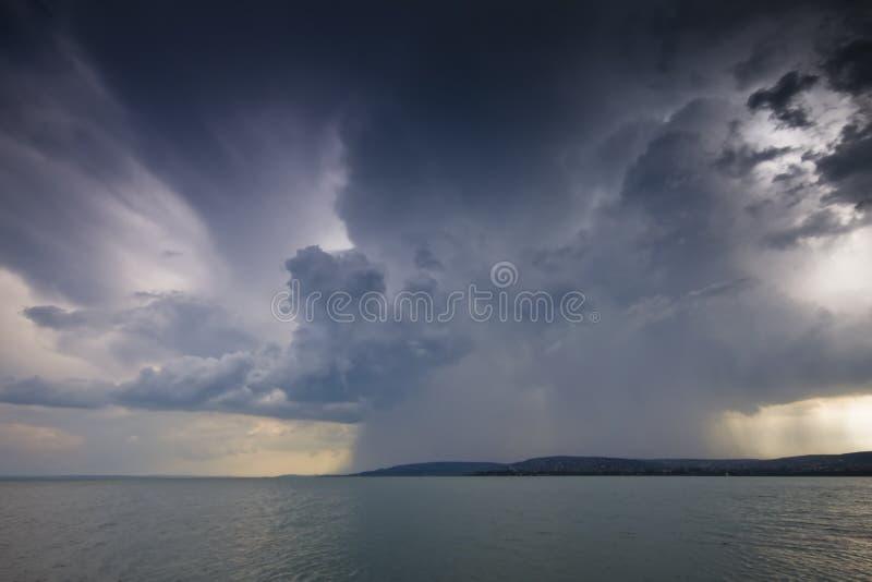 Storm over the lake Balaton royalty free stock photography