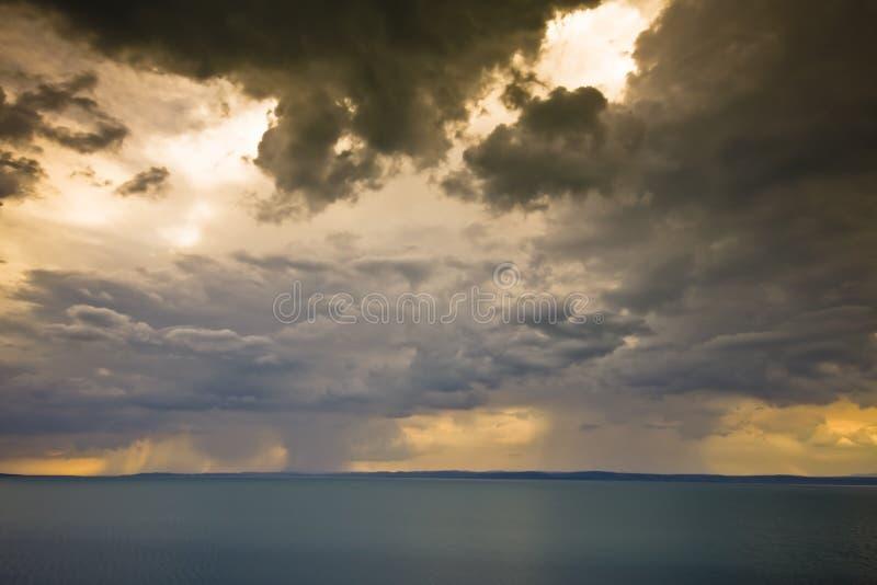 Storm over the lake Balaton stock images