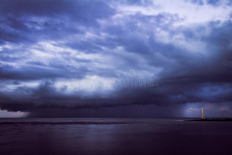 Storm over the sea stock photo