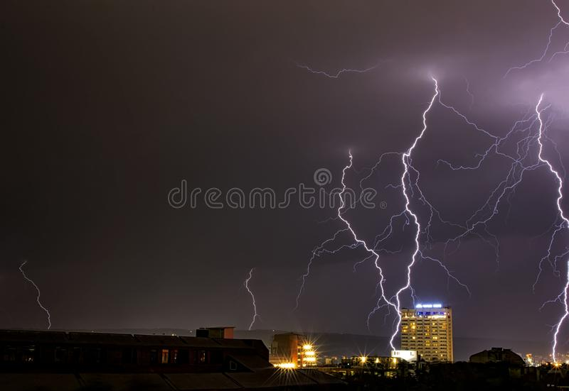 Amazing flashes of lightning and flashes. Storm over Varna, Bulgaria, with amazing flashes of lightning and flashes royalty free stock photos
