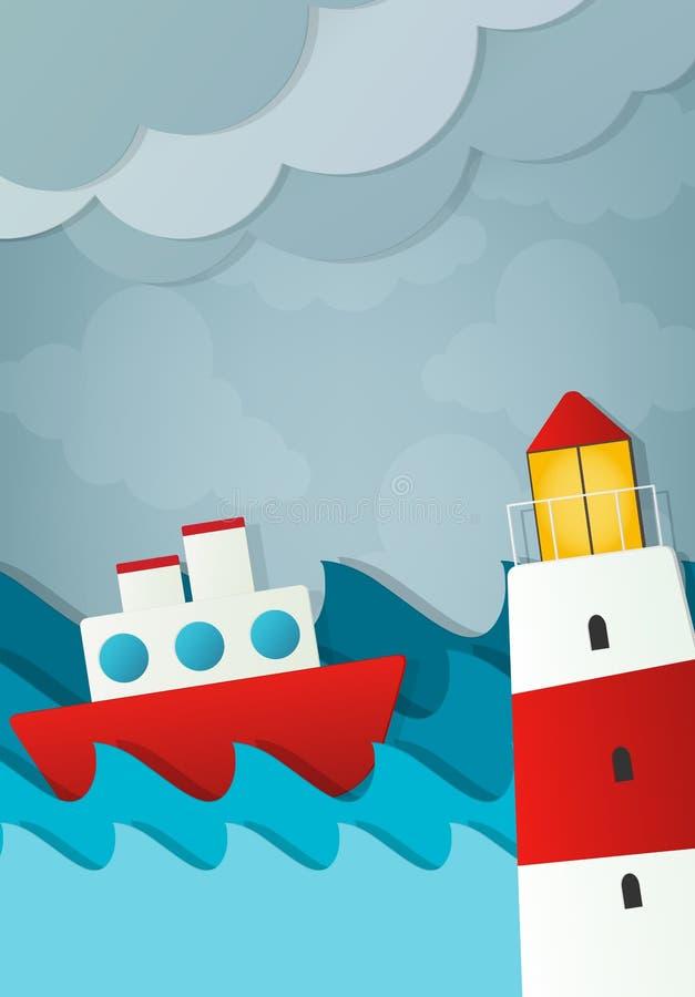 Storm på havet stock illustrationer