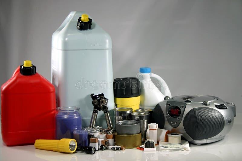 Storm preperation supplies stock image