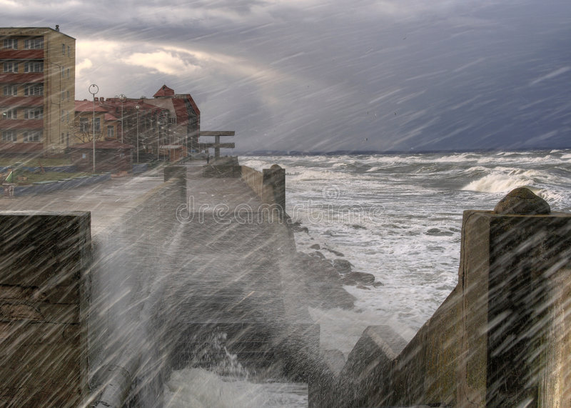 Storm. Quay of Zelenogradsk. Baltic stock image