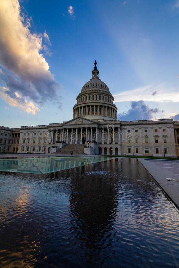 Storm rising over United States Capitol Building, Washington DC. Dramatic afternoon light over United States Capitol Building, Washington DC royalty free stock photo