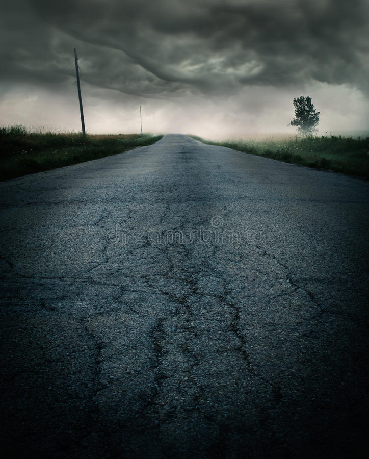 Storm on the road stock photos
