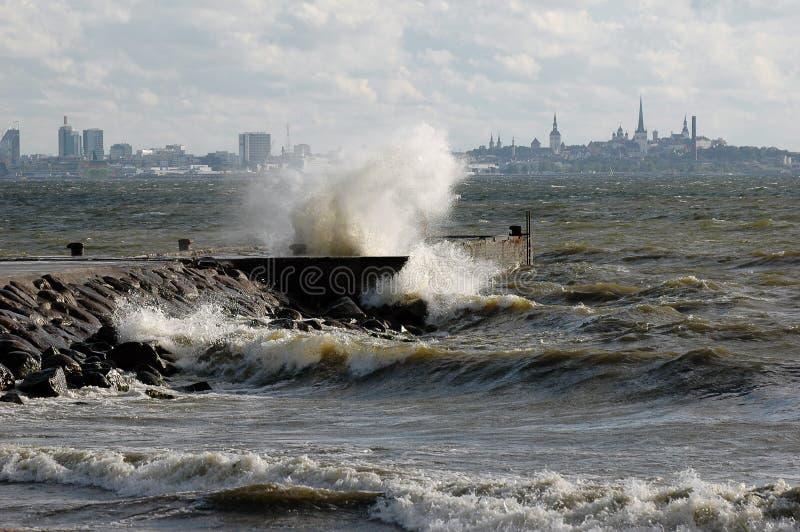 Storm on sea stock image