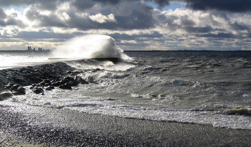 Storm by the sea in Tallinn, Estonia stock photo