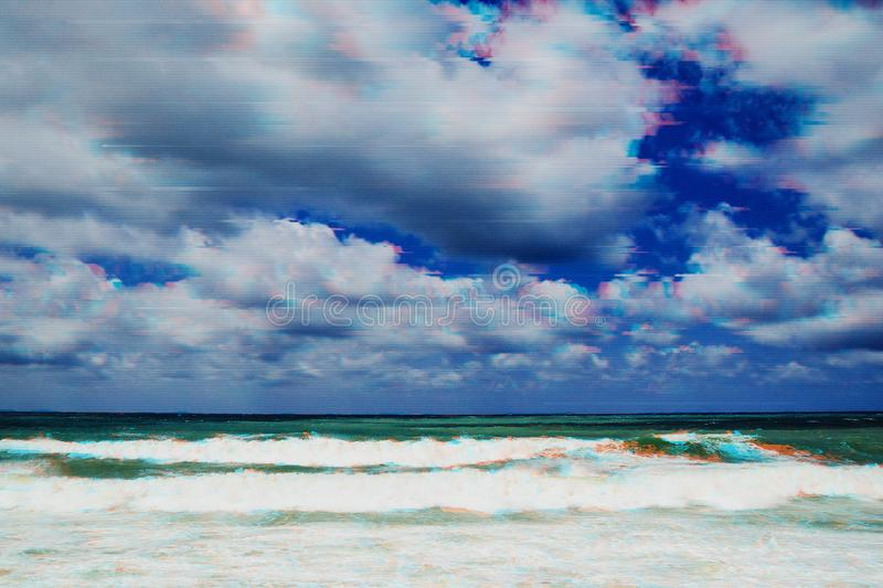 Storm on the sea in the glitch effect. Storm at sea and dramatic sky in glitch effect stock photography