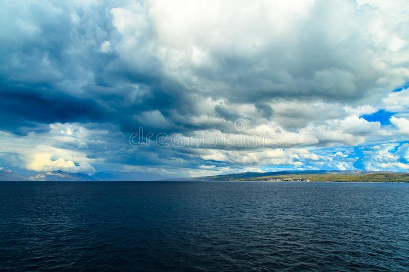 Storm in the sea of Split. Storm in the sea of Croatia from the Ferryboat leaving Split stock photos