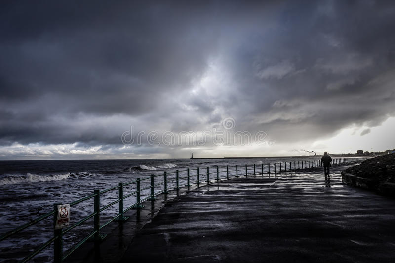 Storm at Seaburn royalty free stock image