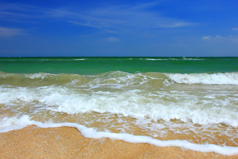 Storm Sky Over Sea, Sandy Beach Royalty Free Stock Photography