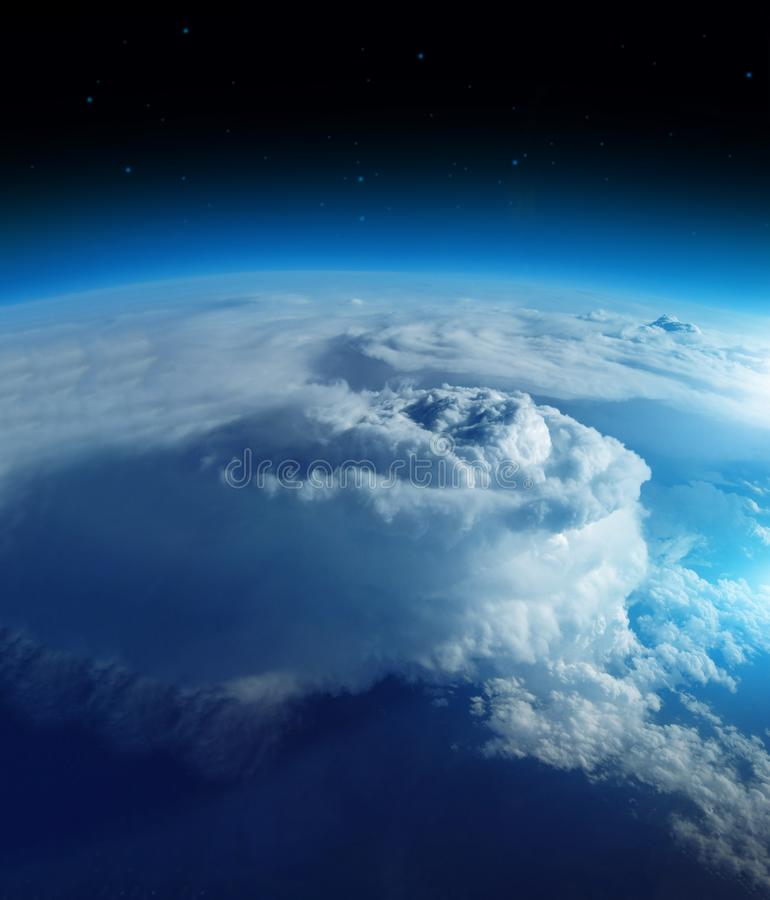 Storm from space on the blue planet earth, 20km above ground / real photo. Elements of this image furnished by NASA.  royalty free stock images