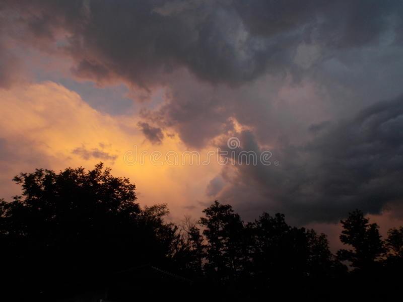 Storm in a summer evening stock images