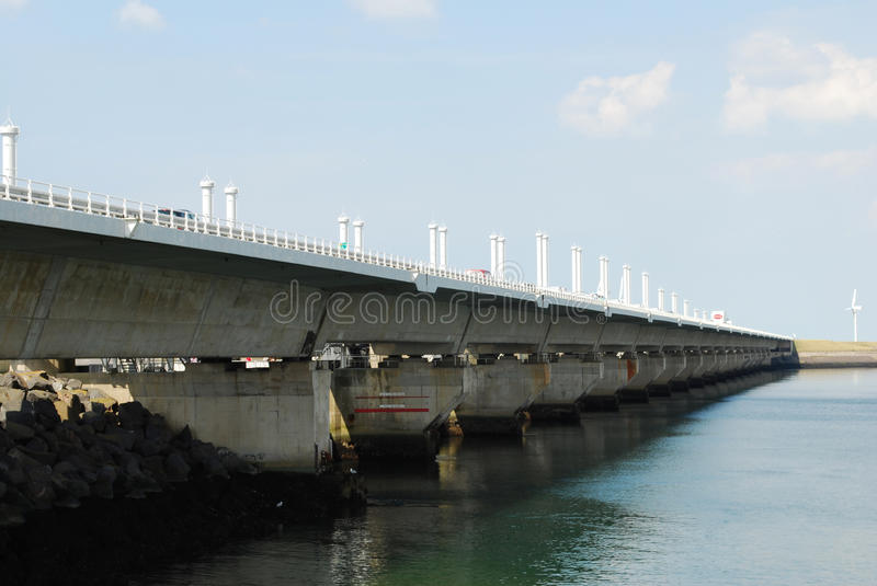 Storm surge barrier. Oosterschelde storm surge barrier in the province of Zeeland along the Dutch coast stock images