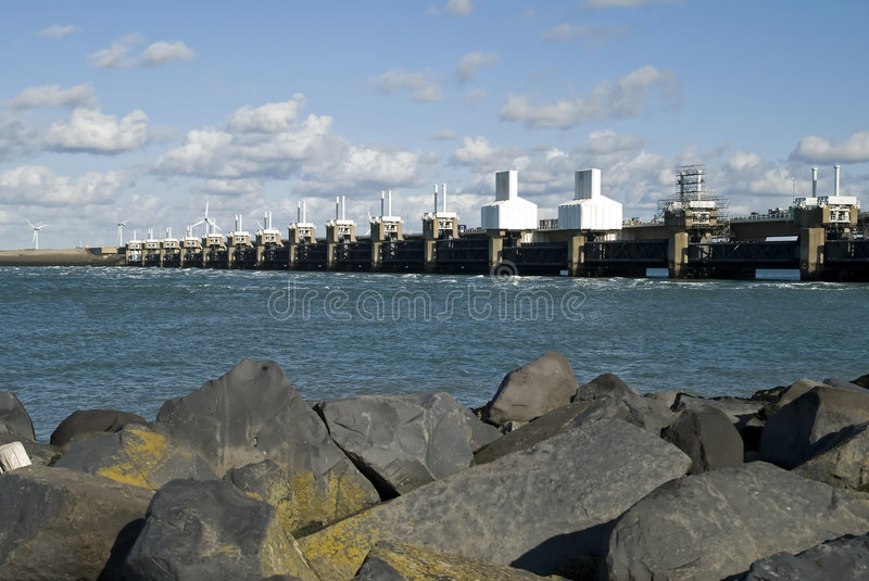Storm surge barrier. In Zeeland, Netherlands. Build after the storm disaster in 1953 stock images