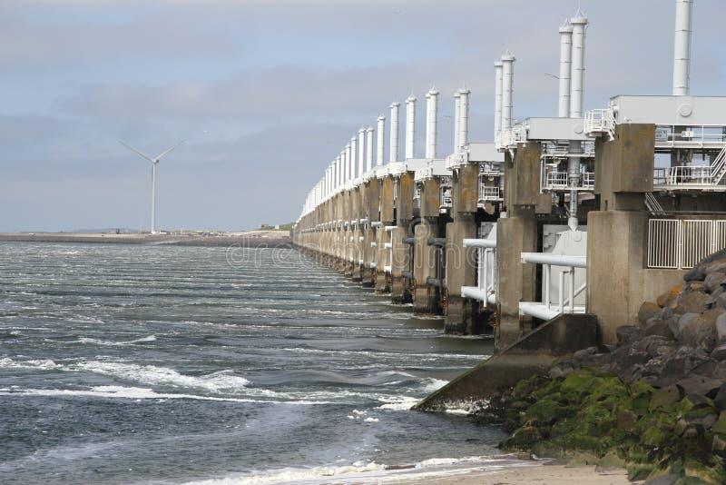 Storm surge barrier. The Dutch storm surge barrier Oosterschelde near Neeltje Jans in The Netherlands stock photo