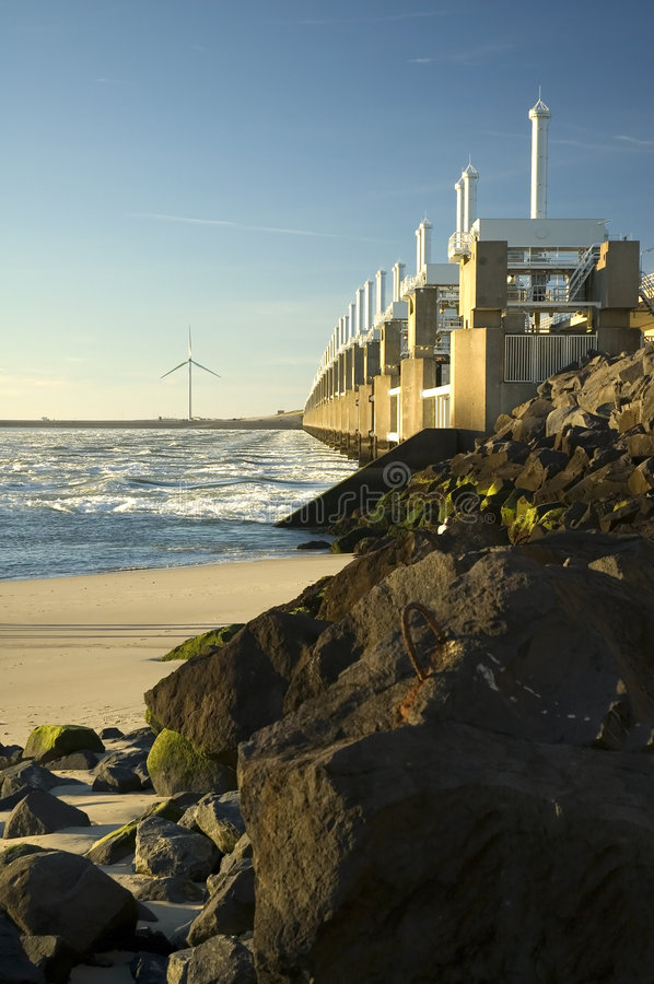 Storm surge barrier in Zeeland. Holland. Build after the storm disaster in 1953 stock photos