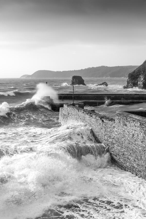 Storm Surge, Charlestown Harbour, Cornwall. Storm Surge batters the historic Charlestown Harbour in south Cornwall royalty free stock image