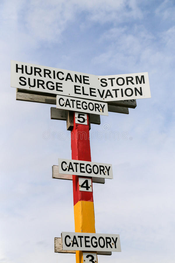 Storm Surge Indicator. This unique sign on Tybee island helps tourist visualize the impact of Hurricane on the coastline royalty free stock photo