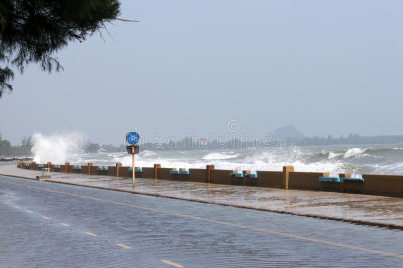 Storm surge a rising of the sea. In Thailand royalty free stock photography