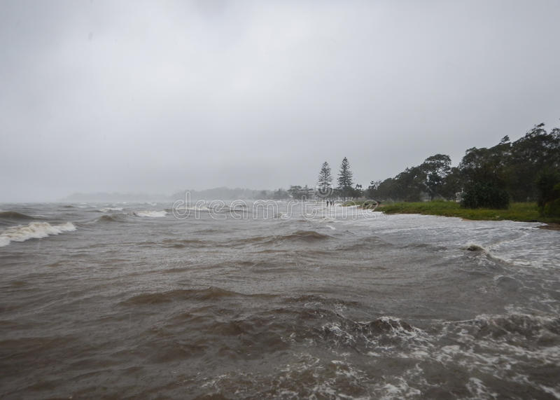 Storm Surge Tide. At Sandgate in Brisbane after Cyclone Marcia royalty free stock photos