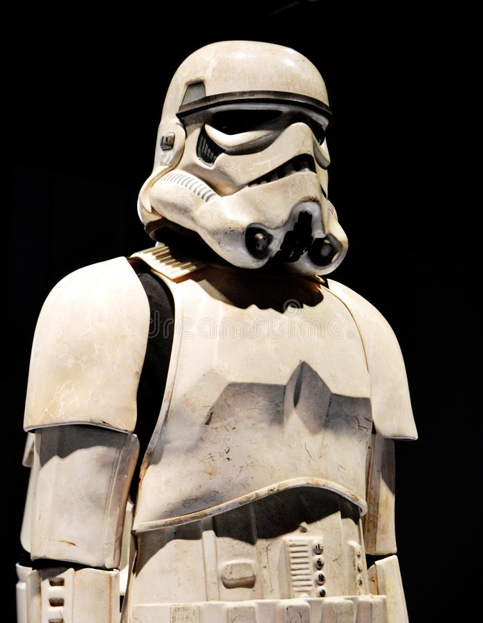 Storm Trooper from original Star Wars trilogy. Body armor of a storm trooper, with dirt on it, from a special exhibit at the Detroit Institute of Arts on the stock photo