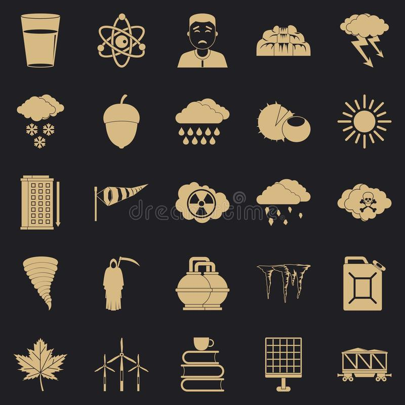 Storm warning icons set, simple style stock illustration