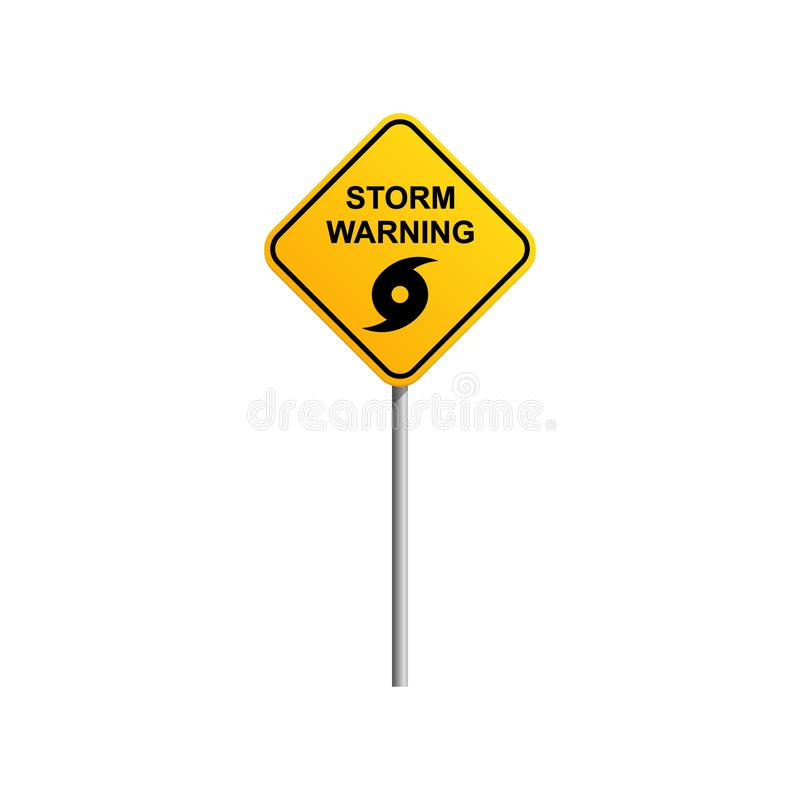 Storm warning road sign with blue sky and cloud background vector illustration
