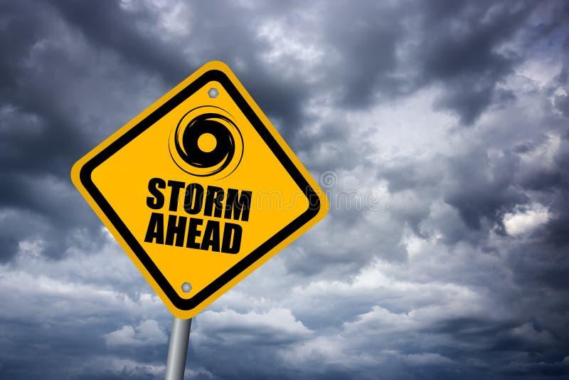 storm warning sign stock image