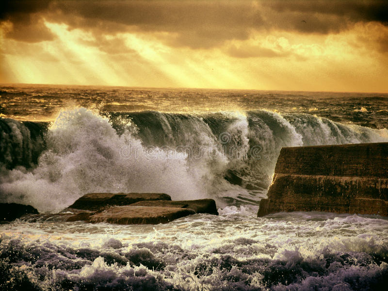 Storm wave. The incredible power of the storm surge stock images