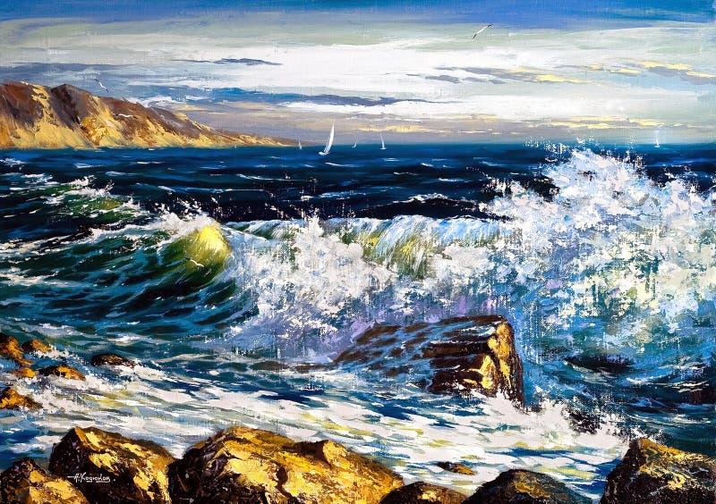 Download Storm waves stock illustration. Illustration of brushes - 6760805
