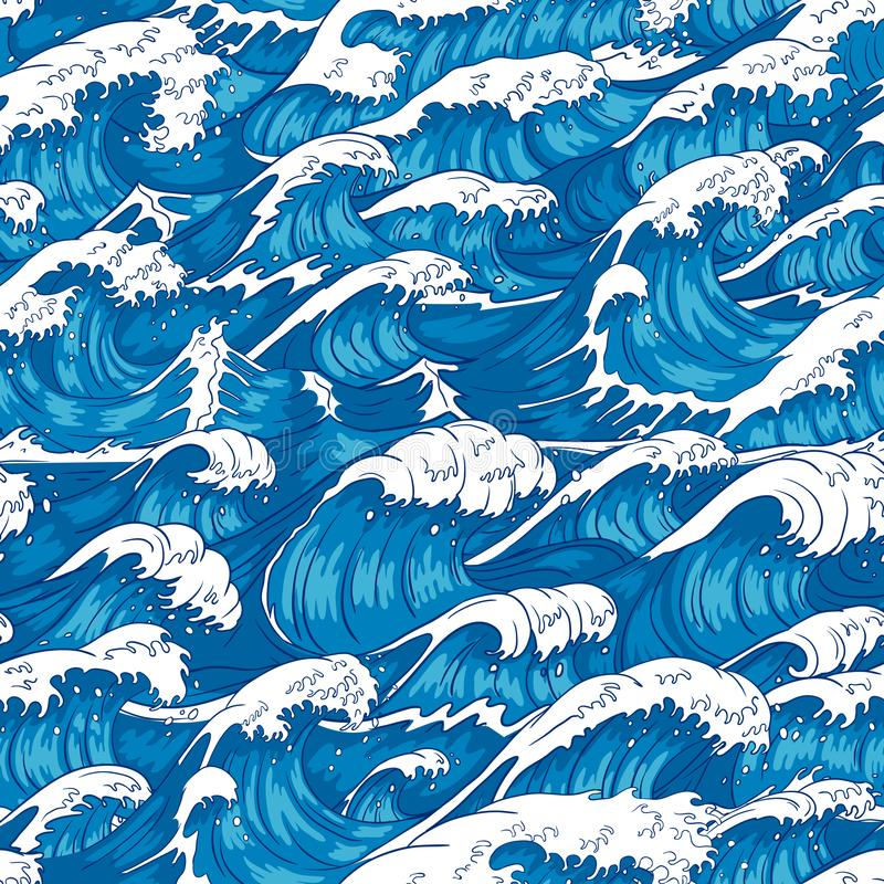 Storm waves seamless pattern. Raging ocean water, sea wave and vintage japanese storms print vector illustration stock illustration