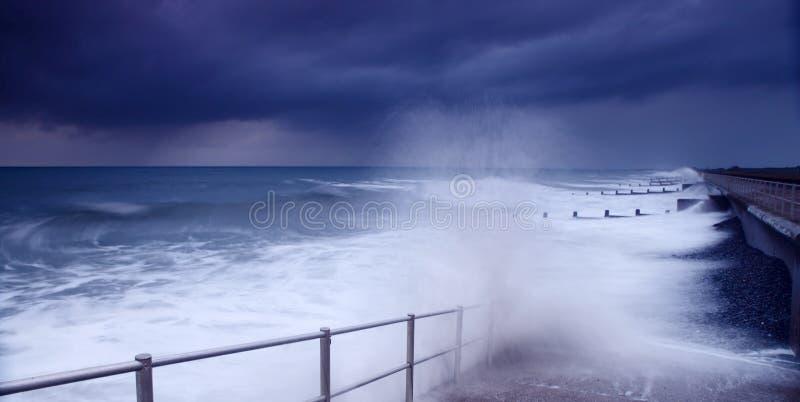 Storm weather crashing waves stock image