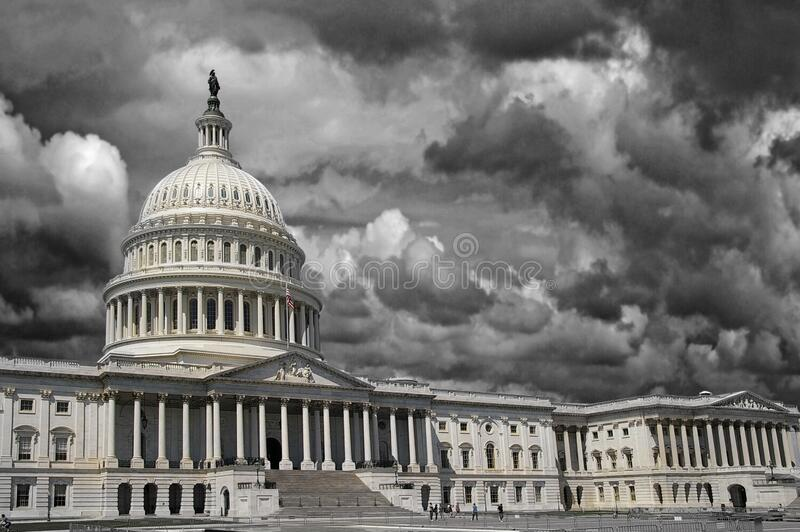 Storm wolken boven Washington DC-hoofdstad royalty-vrije stock fotografie